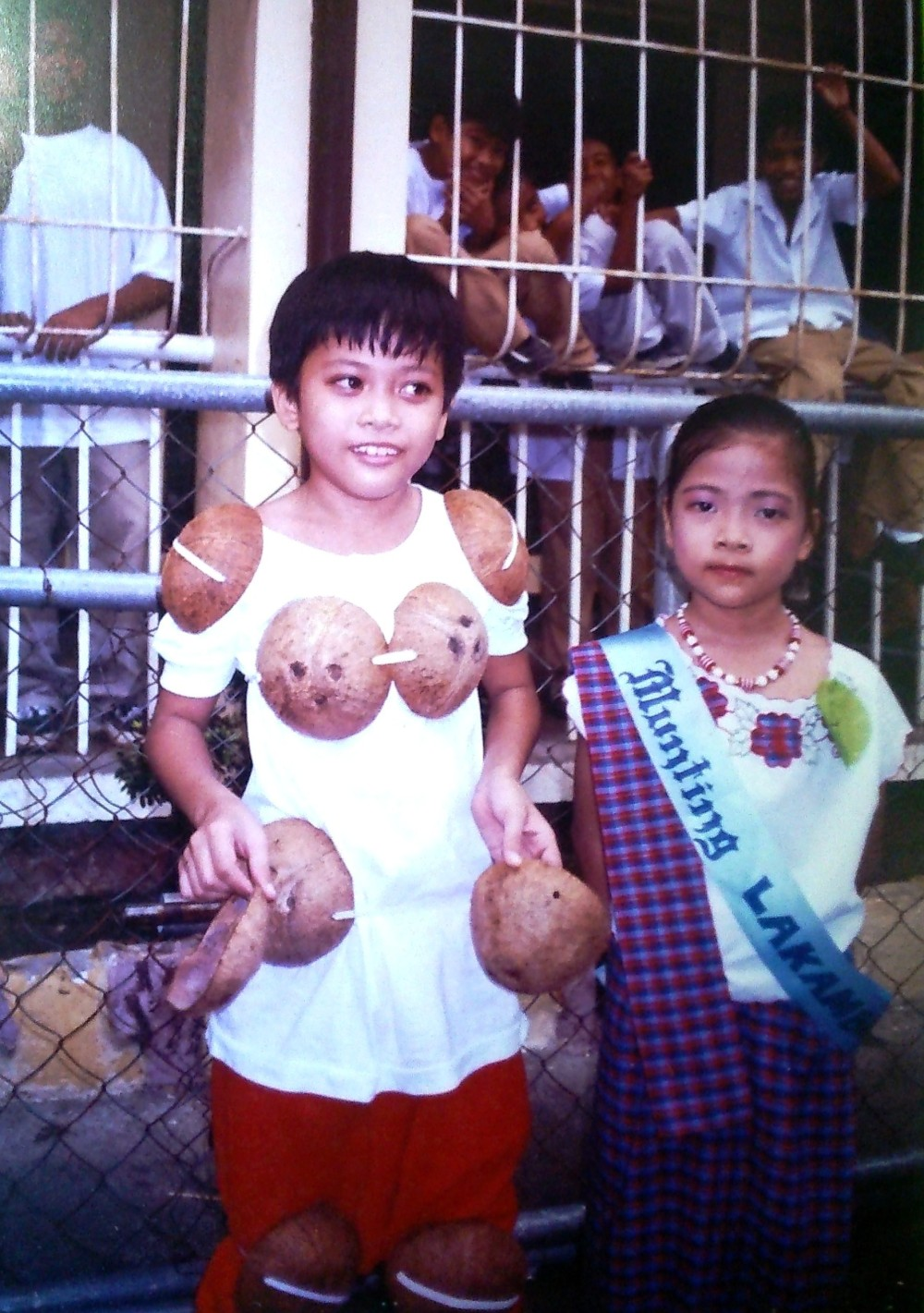 My brother as a maglalatik and myself as a contestant for 'Munting Lakambini'