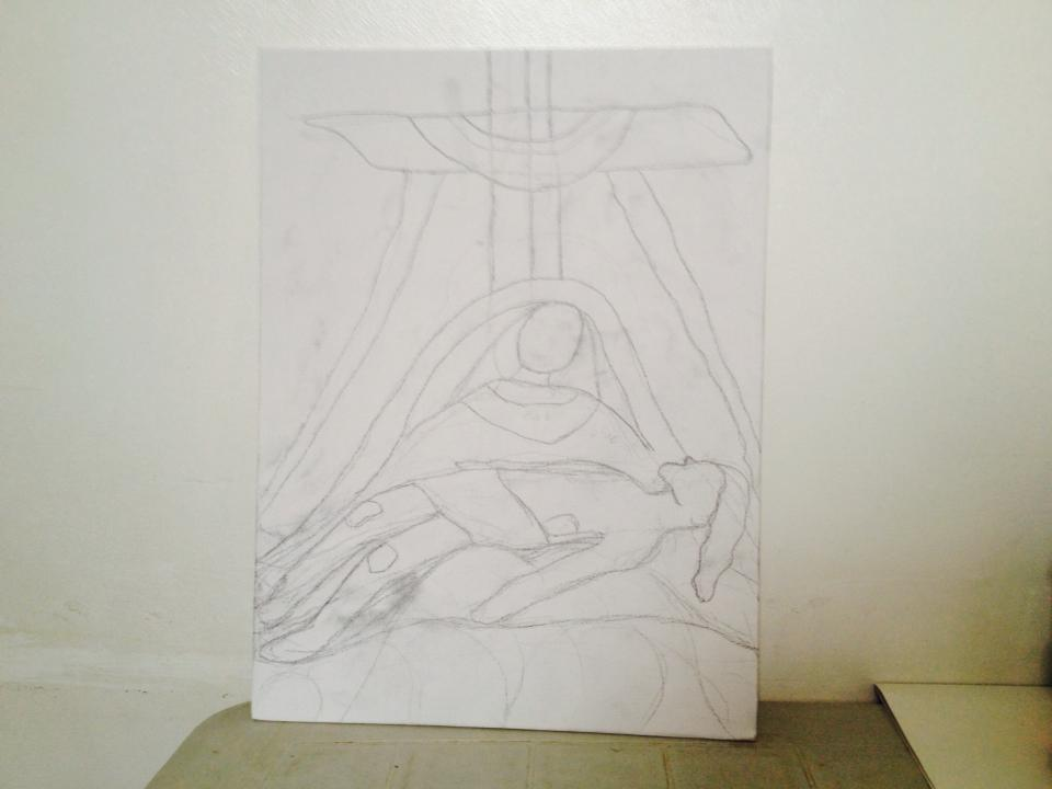 First step in painting on canvas: Outline
