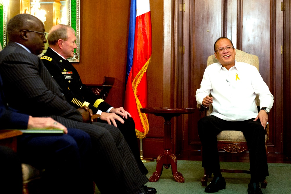 President of the Phillipines Benigno S. Aquino III meets with Chairman of the Joint Chiefs of Staff Gen. Martin E. Dempsey and US Ambassador to the Philippines Harry Thomas in Manilla, Philippines, June 4, 2012. DOD photo by D. Myles Cullen
