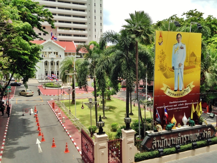 Thai Police General HQ with an image of King Bhumibol Adulyadej