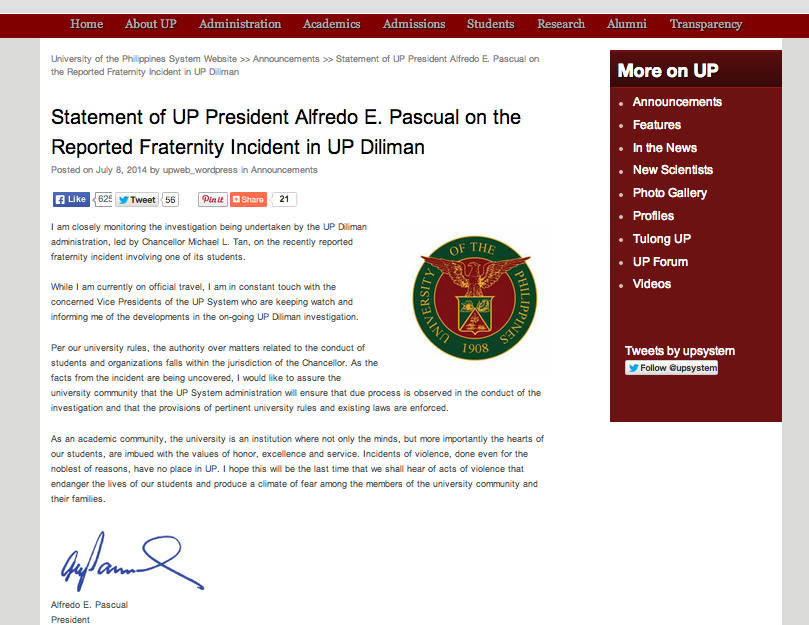 Official statement of UP President Alfredo Pascual on the UP Diliman hazing incident