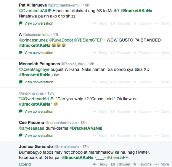 A collection of tweets under the hashtag <i>Bracket A Ka Na</i>