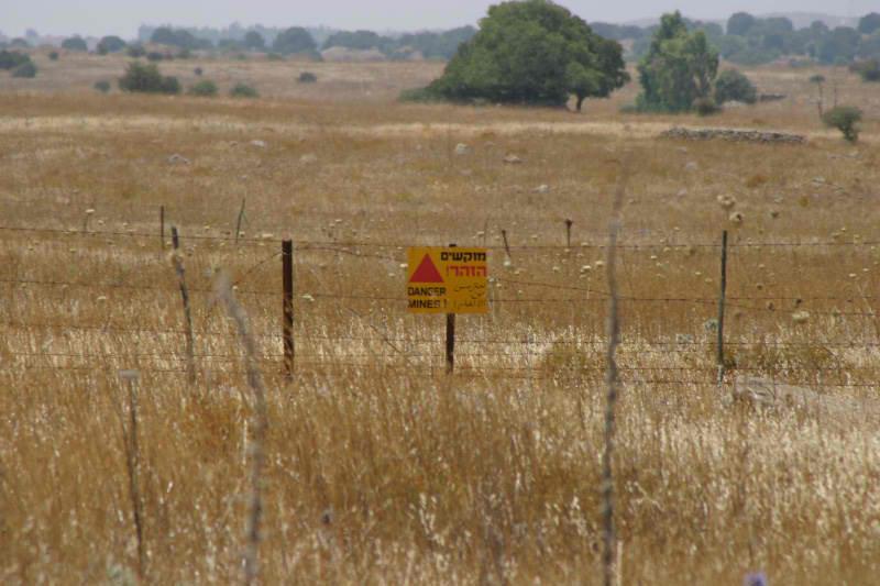 Mine field in Golan Heights