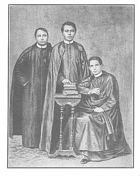 Gomburza. The priests Mariano Gomez, Jose Burgos and Jacinto Zamora