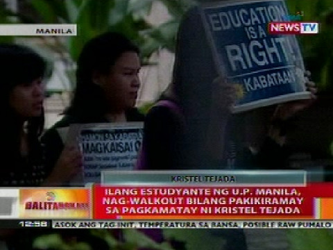 Students rally the case of Kristel Tejada