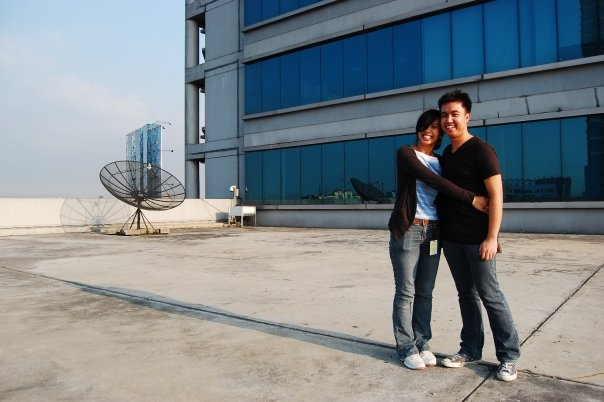 At the rooftop of GMA Network with Mikael Cardenas