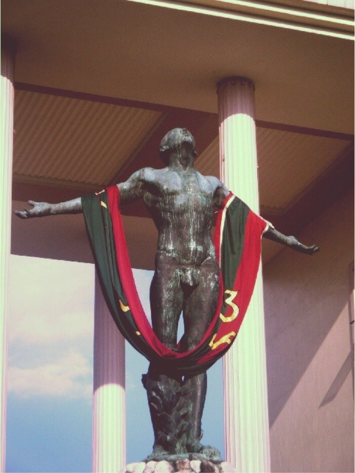 Graduation Day. The Oblation of UP Diliman with a sablay.
