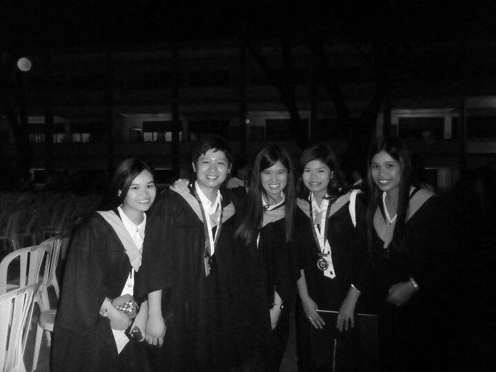 Abys with her friends from the University of the Assumption in San Fernando, Pampanga.