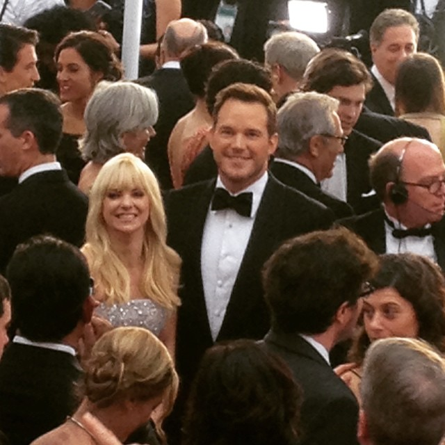 Chris Pratt (Jurassic Park, StarLord in Guardians of the Galaxy) with his wife Anna Farris