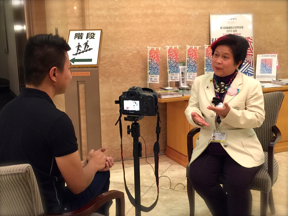 Panahon TV interviews DSWD Secretary Dinky Soliman who is part of the Philippine delegation