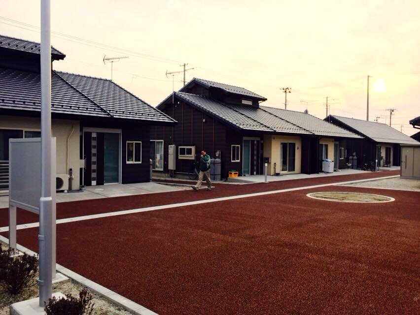 Relocation site in Natori City. Survivors were relocated based on their original neighborhoods.
