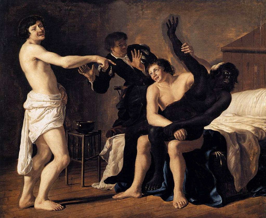Three Young White Men and a Black Woman. Artwork by Christiaen van Couwenbergh