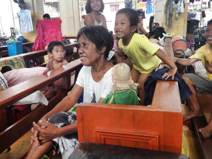 Evacuees at the Redemptorist Church in Tacloban City, Leyte, 7 days after Yolanda. (Photo by Lian Buan)
