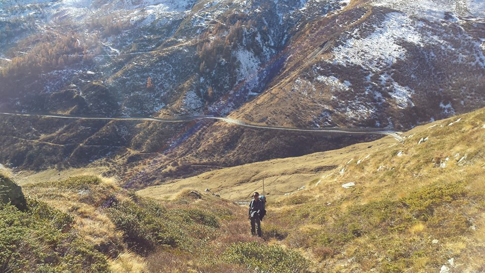 Greenhouse gas expert and consultant Alan Luis Silayan, who was also with the Climate Walk from Manila to Tacloban, braves the rugged terrain at the Italian alps.