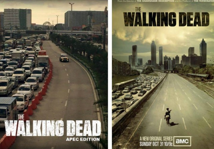 A viral photo of the APEC express lane converted into a Walking Dead meme