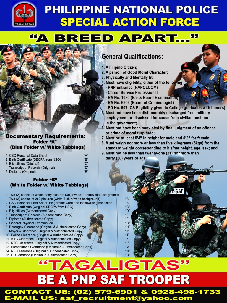 Qualifications for aspiring commandos. Source: PNP-SAF.