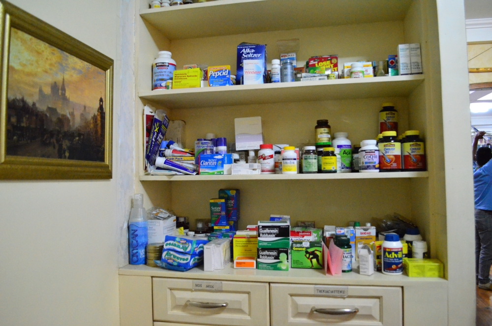Her stack of medicines.