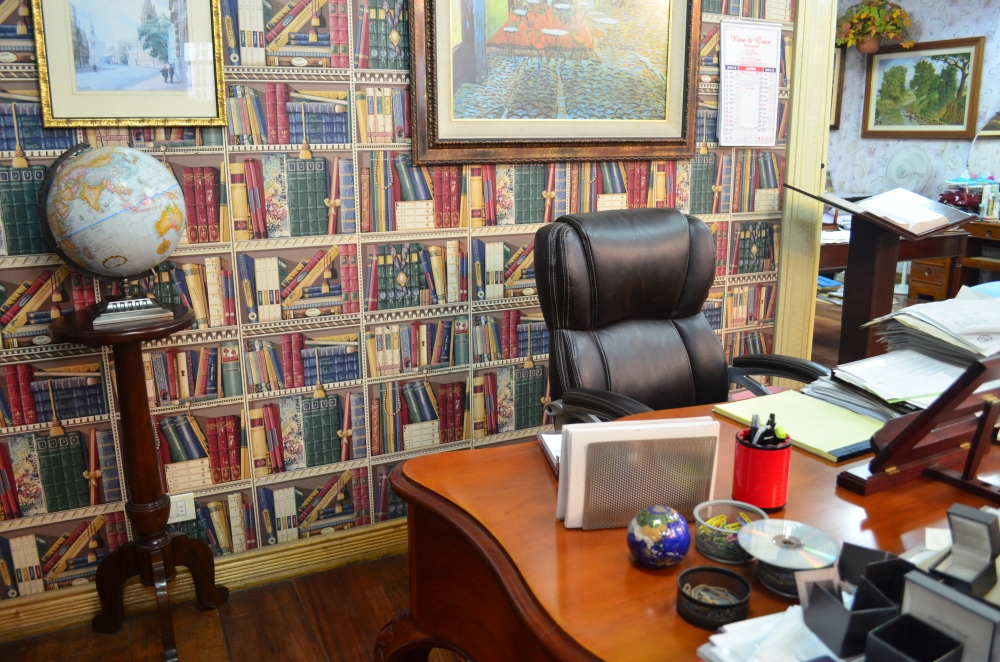 Her desk.