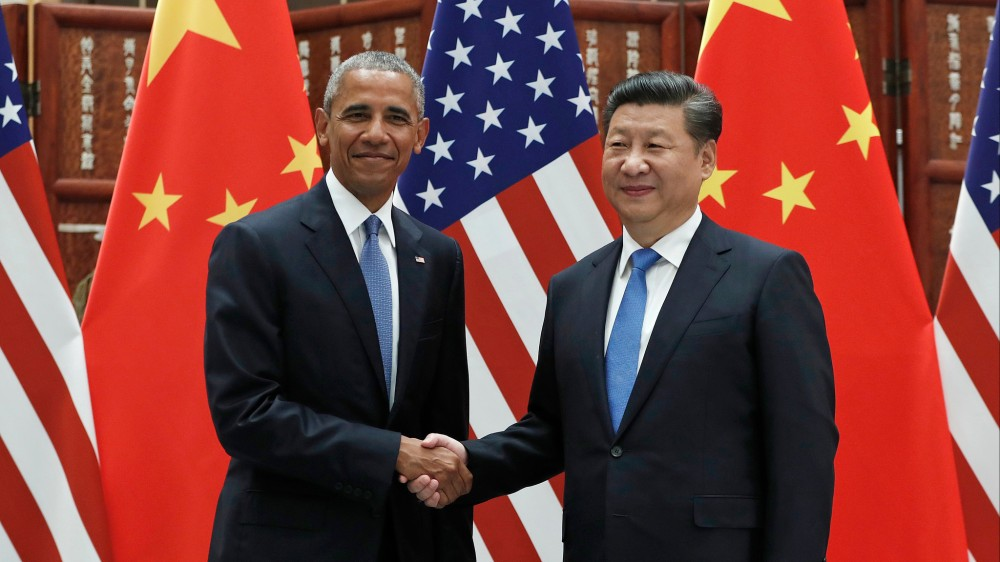 Outgoing US President Barack Obama and Chinese President Xi Jingping. Photo by the LA Times.