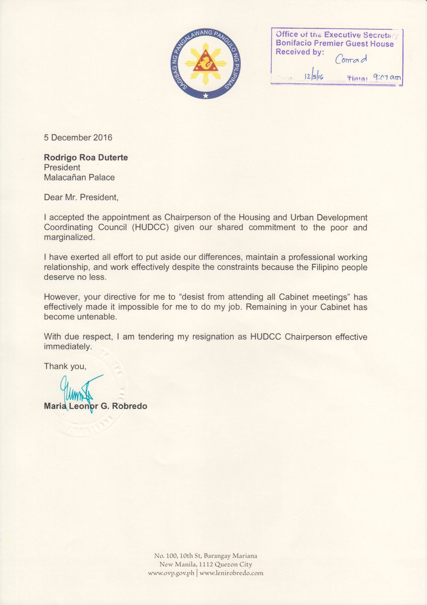 VP Leni Robredo's letter of resignation as HUDCC Secretary.