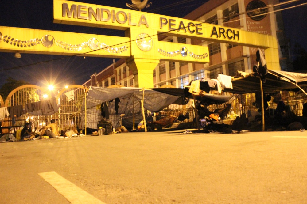 Camping out at the Mendiola Peace Arch