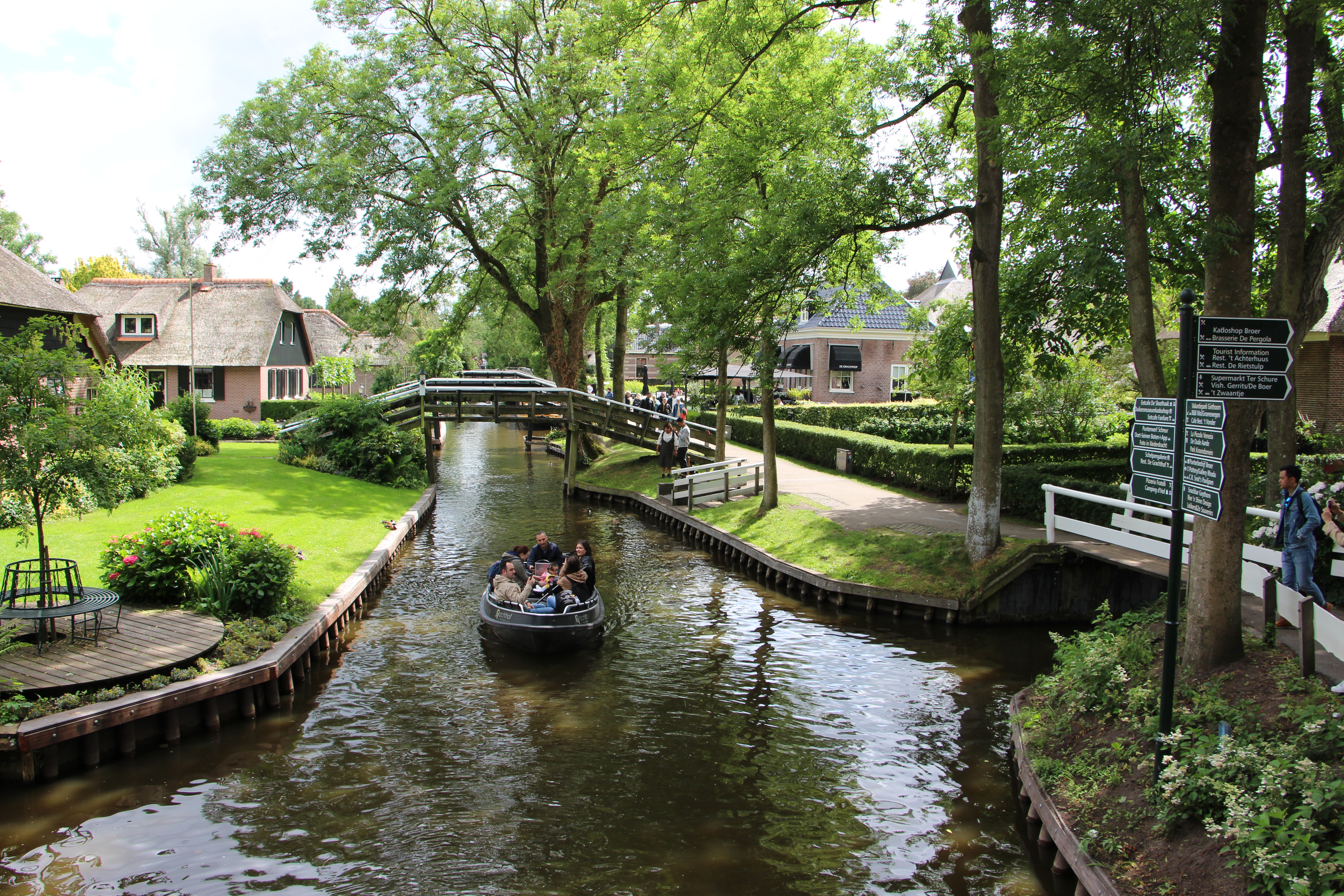 Giethoorn is known for its boat-filled waterways, footpaths, bicycle trails and centuries-old thatched-roof houses.