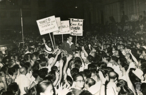 Senator Sergio Osmeña Jr. in one of his campaign sorties in the 1969 Elections. Courtesy of the Presidential Museum and Library.