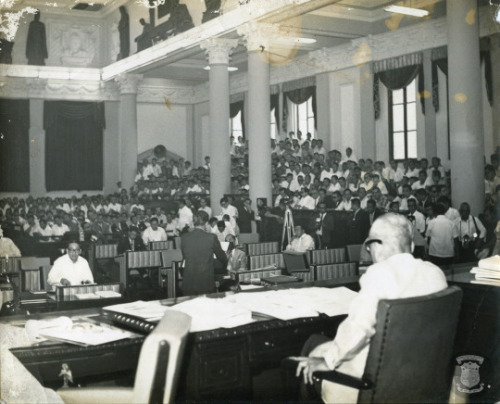 A senator delivers a speech in the 60s, in the Senate Session Hall of the Old Legislative Building (now the National Museum of the Philippines). Courtesy of the National Library and the Presidential Museum and Library.